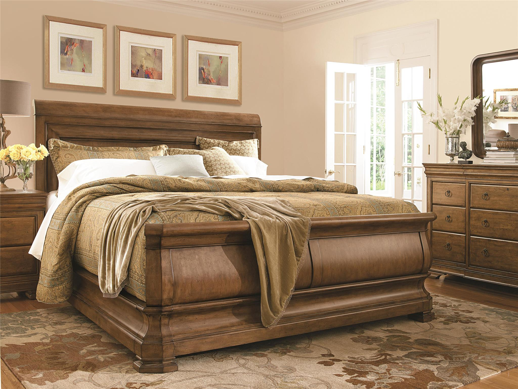 Universal furniture new lou louie p 39 s sleigh bed king - King size sleigh bed bedroom set ...