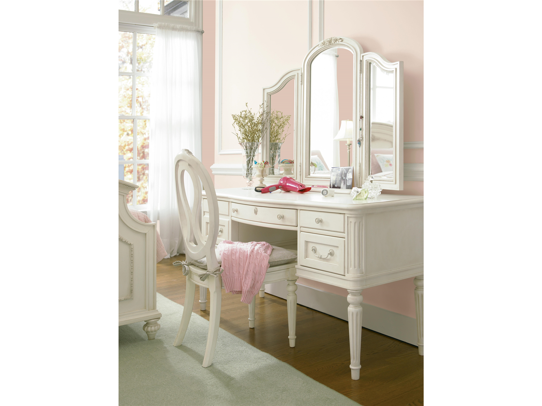 furniture mirror set vanity dressing table with dresser girls flair top lighted desk makeup beautiful