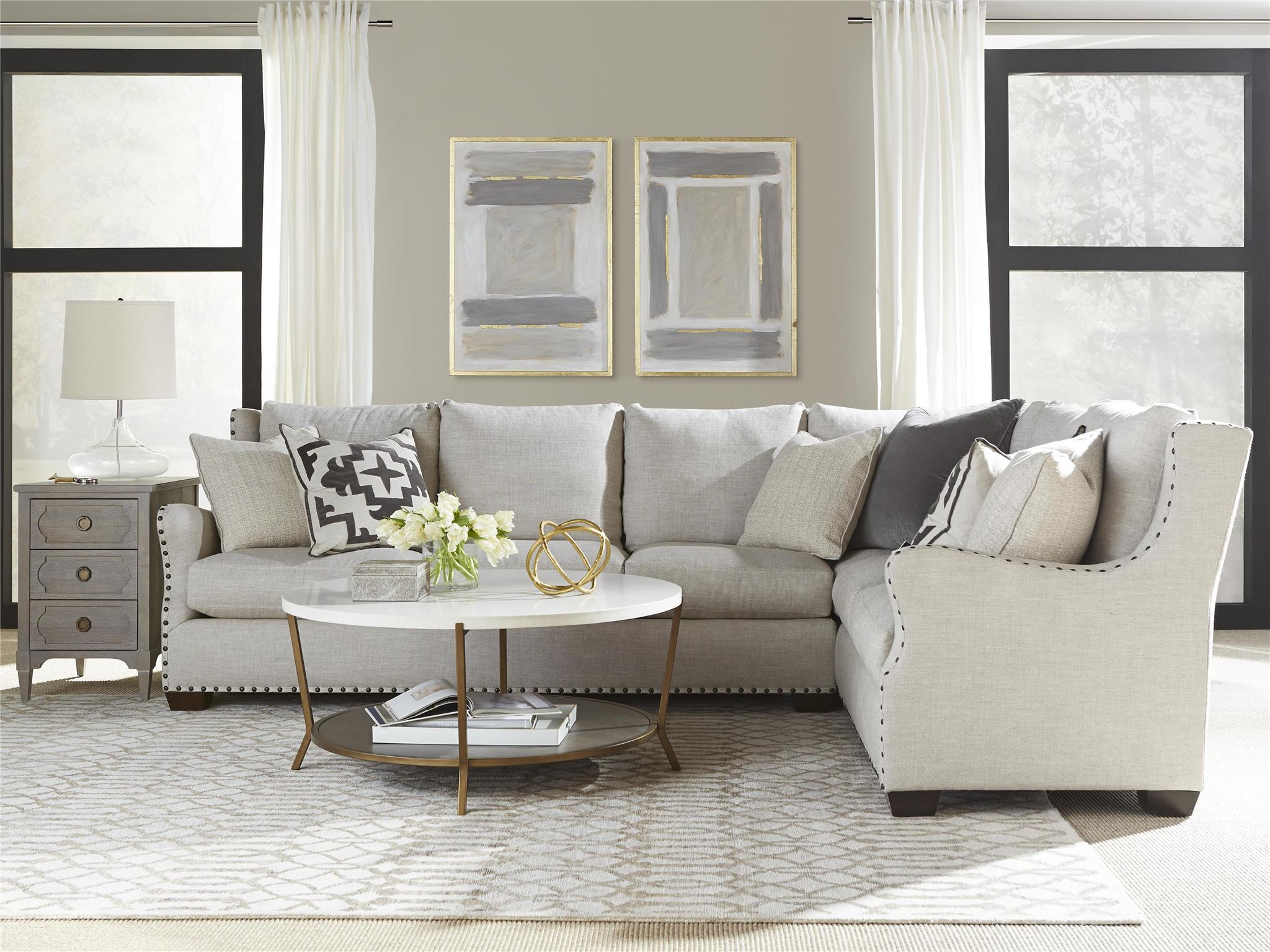Universal furniture curated connor sectional left arm sofa right arm corner for Modern living room furniture houston tx