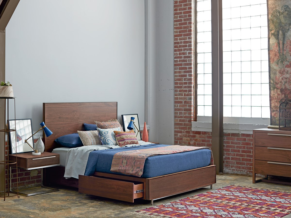 Tanner Queen Bed with Storage Rails